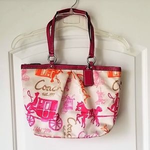 COACH Sateen Multi Color Horse & Carriage Tote